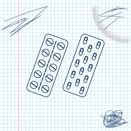 Pills or capsules in blister package line sketch icon isolated on white background. Tablets in package. Medications Accessory pharmacies and first aid kits. Vector Illustration  イラスト・ベクター素材