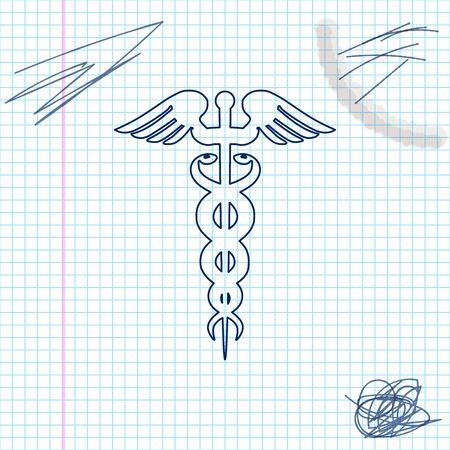 Caduceus medical symbol line sketch icon isolated on white background. Medicine and health care concept. Emblem for drugstore or medicine, pharmacy snake symbol. Vector Illustration