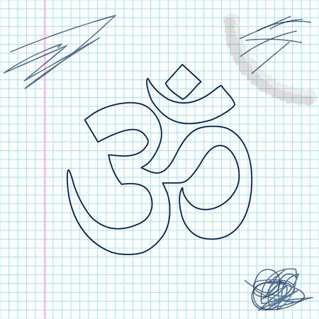 Om or Aum Indian sacred sound line sketch icon Vector Illustratie