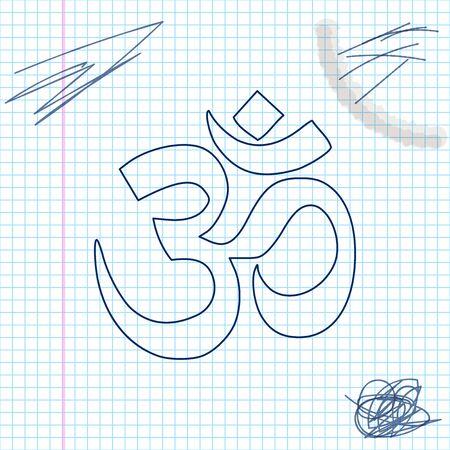 Symbol für die Linienskizze von Om oder Aum in Indien Vektorgrafik