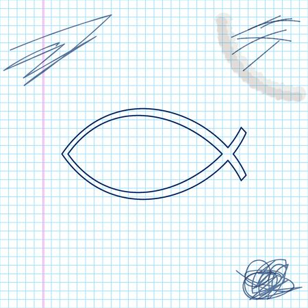 Fish symbol line sketch icon