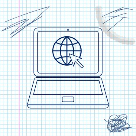 Website on laptop screen line sketch icon