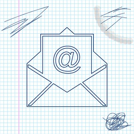 Mail and e-mail line sketch icon