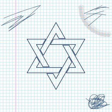 Star of David line sketch icon Illustration