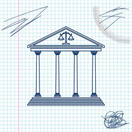 Icono de esbozo de línea de edificio de palacio de justicia