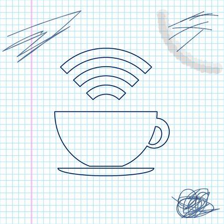 Cup of coffee shop with free Wireless  zone line sketch icon Stok Fotoğraf - 133352583