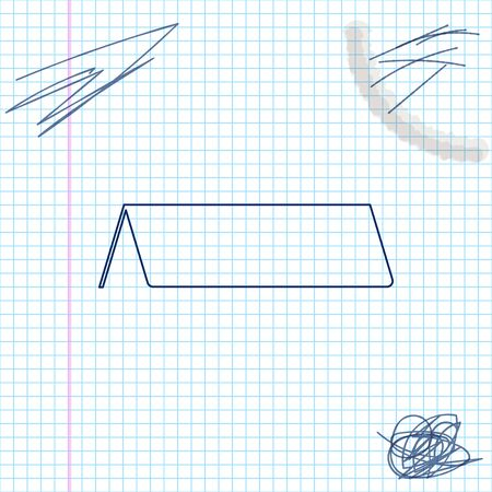 Blank paper table card line sketch icon isolated on white background. Tent card icon. Vector Illustration