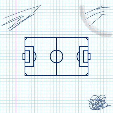Football field or soccer field line sketch icon isolated on white background. Vector Illustration Standard-Bild - 126842043