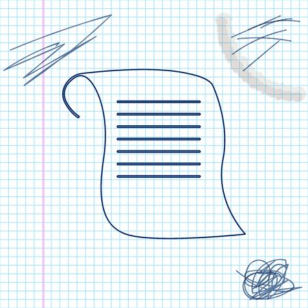 Paper scroll line sketch icon isolated on white background. Canvas scroll sign. Vector Illustration Illustration