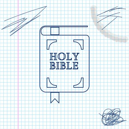 Holy bible book line sketch icon isolated on white background. Vector Illustration