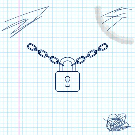 Metal chain and lock line sketch icon isolated on white background. Padlock and steel chain. Vector Illustration