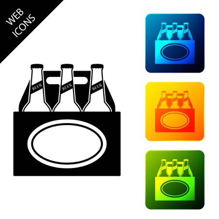 Pack of beer bottles icon isolated on white background. Case crate beer box sign. Set icons colorful square buttons. Vector Illustration Ilustrace