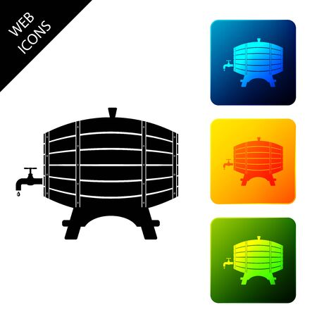 Wooden barrel on rack with stopcock icon isolated on white background. Set icons colorful square buttons. Vector Illustration Illustration
