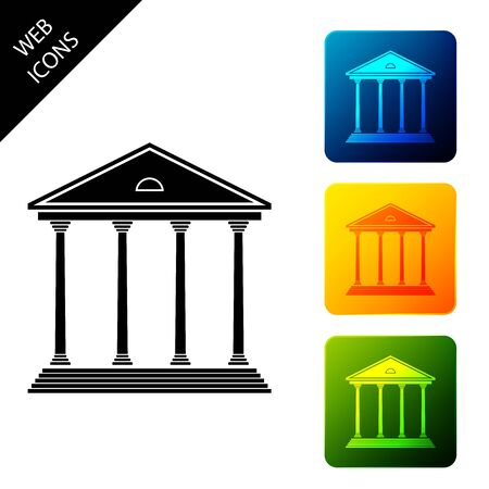 Courthouse building icon isolated on white background. Building bank or museum. Set icons colorful square buttons. Vector Illustration