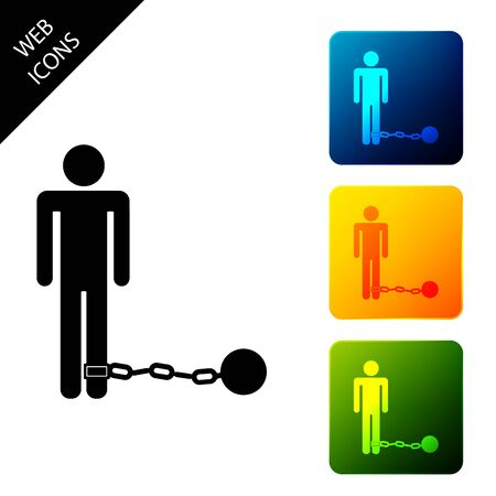 Prisoner with ball on chain icon isolated on white background. Set icons colorful square buttons. Vector Illustration