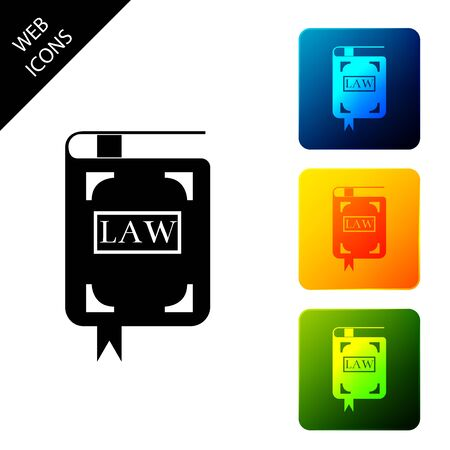 Law book icon isolated on white background. Legal judge book. Judgment concept. Set icons colorful square buttons. Vector Illustration Standard-Bild - 129306994
