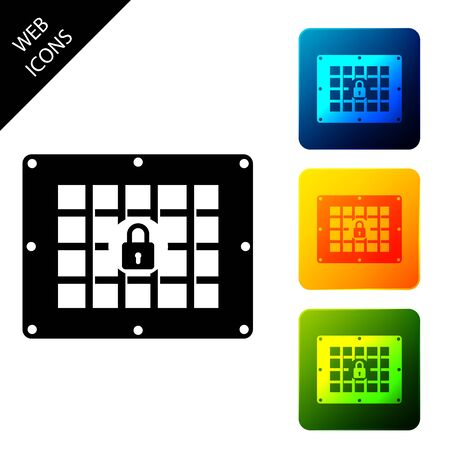 Prison window icon isolated on white background. Set icons colorful square buttons. Vector Illustration