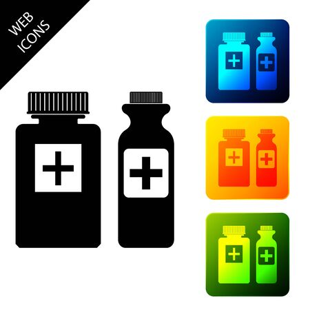 Medicine bottle icon isolated on white background. Bottle pill sign. Pharmacy design. Set icons colorful square buttons. Vector Illustration Ilustrace
