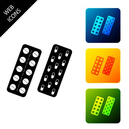 Pills or capsules in blister package icon isolated on white background. Tablets in package. Medications Accessory pharmacies and first aid kits. Set icons colorful square buttons. Vector Illustration