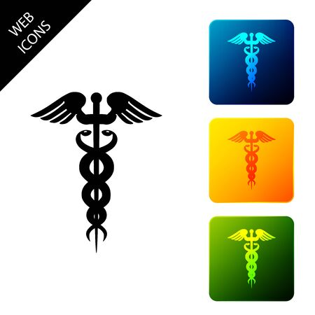 Caduceus medical symbol icon on white background. Medicine and health care concept. Emblem for drugstore or medicine, pharmacy snake symbol. Set icons colorful square buttons. Vector Illustration Ilustrace
