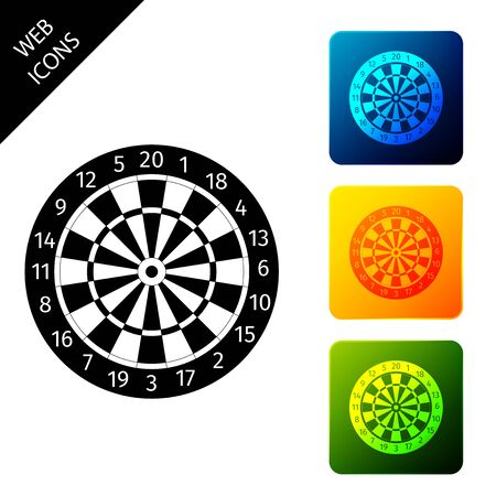 Classic darts board with twenty black and white sectors icon isolated on white background. Dart board sign. Dartboard sign. Game concept. Set icons colorful square buttons. Vector Illustration