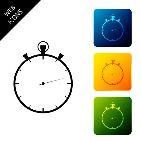 Stopwatch icon isolated on white background. Time timer sign. Set icons colorful square buttons. Vector Illustration
