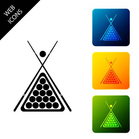 Billiard cue and balls in a rack triangle icon isolated on white background. Set icons colorful square buttons. Vector Illustration