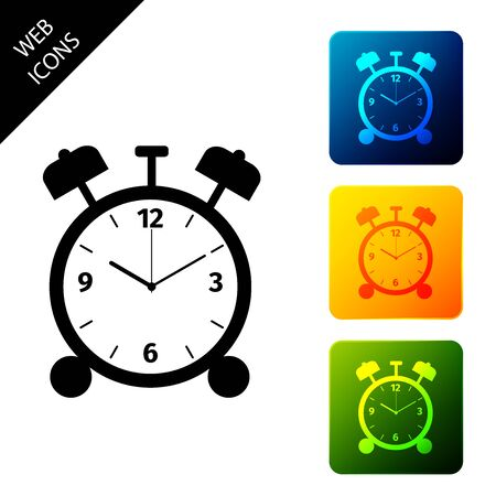 Alarm clock icon isolated on white background. Wake up, get up concept. Time sign. Set icons colorful square buttons. Vector Illustration 向量圖像