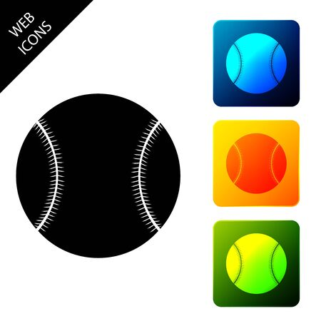 Baseball ball icon isolated on white background. Set icons colorful square buttons. Vector Illustration