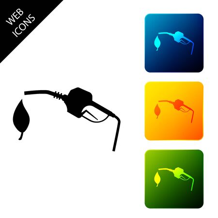 Bio fuel concept with fueling nozzle and leaf icon isolated on white background. Natural energy concept. Gas station gun sign. Set icons colorful square buttons. Vector Illustration Foto de archivo - 129301855
