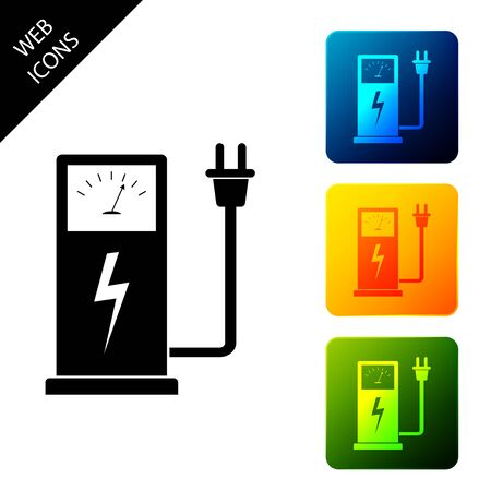 Electric car charging station icon isolated on white background. Eco electric fuel pump sign. Set icons colorful square buttons. Vector Illustration