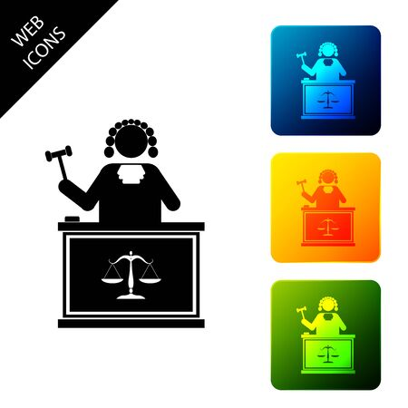 Judge with gavel on table icon isolated on white background. Set icons colorful square buttons. Vector Illustration