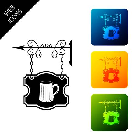 Vintage street signboard hanging on forged brackets with wooden mug of beer icon. Suitable for advertisements bar, tavern, cafe, pub, restaurant. Set icons colorful square buttons. Vector Illustration Stock Illustratie