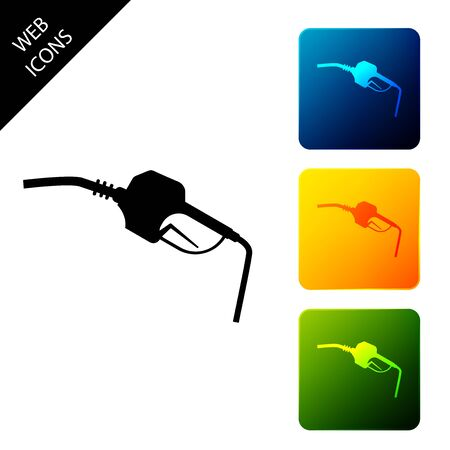 Gasoline pump nozzle icon isolated on white background. Fuel pump petrol station. Refuel service sign. Gas station icon. Set icons colorful square buttons. Vector Illustration