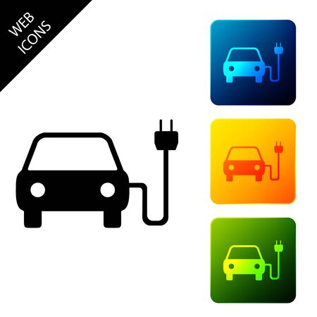 Electric car and electrical cable plug charging icon isolated on white background. Electric car charging sign. Renewable eco technologies. Set icons colorful square buttons. Vector Illustration