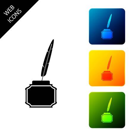 Feather and inkwell icon isolated on white background. Set icons colorful square buttons. Vector Illustration