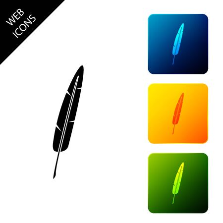 Feather pen icon isolated on white background. Set icons colorful square buttons. Vector Illustration