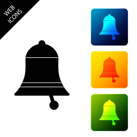 Ringing bell icon isolated on white background. Alarm symbol, service bell, handbell sign, notification symbol. Set icons colorful square buttons. Vector Illustration