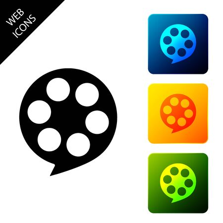 Film reel icon isolated on white background. Set icons colorful square buttons. Vector Illustration