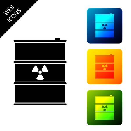 Radioactive waste in barrel icon. Toxic refuse keg. Radioactive garbage emissions, environmental pollution, danger of ecological disaster. Set icons colorful square buttons. Vector Illustration