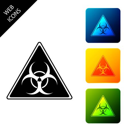 Triangle sign with Biohazard symbol icon isolated on white background. Set icons colorful square buttons. Vector Illustration Çizim