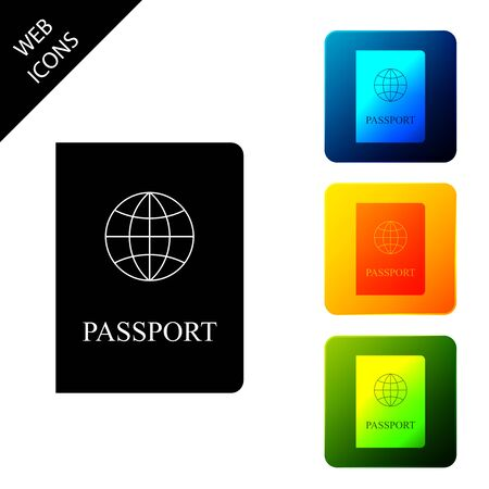 Passport with biometric data icon isolated on white background. Identification Document. Set icons colorful square buttons. Vector Illustration