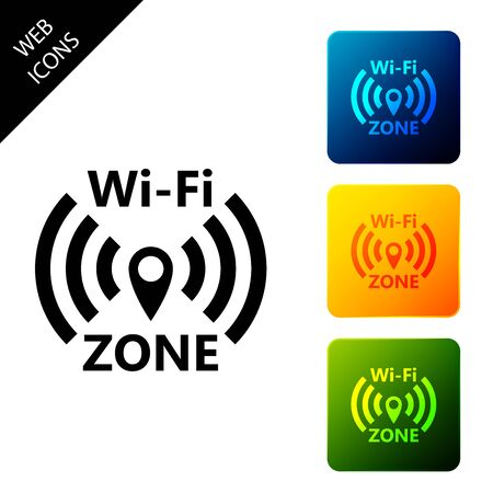 Wi-Fi wireless internet network symbol icon isolated on white background. Set icons colorful square buttons. Vector Illustration Ilustrace