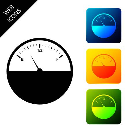 Fuel gauge icon isolated on white background. Full tank. Set icons colorful square buttons. Vector Illustration