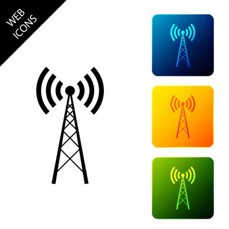 Antenna icon isolated on white background. Radio antenna wireless. Technology and network signal radio antenna. Set icons colorful square buttons. Vector Illustration