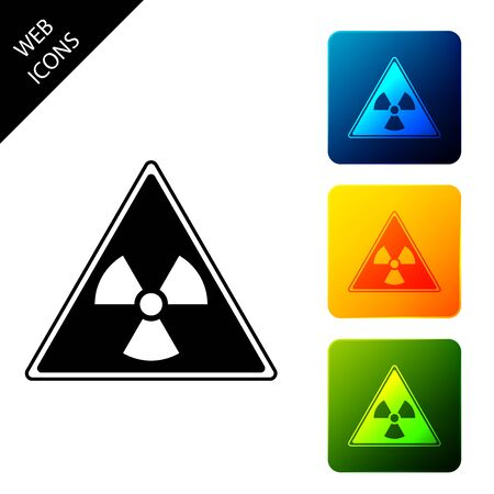 Triangle sign with radiation symbol icon isolated on white background. Set icons colorful square buttons. Vector Illustration Ilustrace