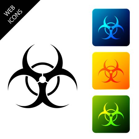 Biohazard symbol icon isolated on white background. Set icons colorful square buttons. Vector Illustration Çizim