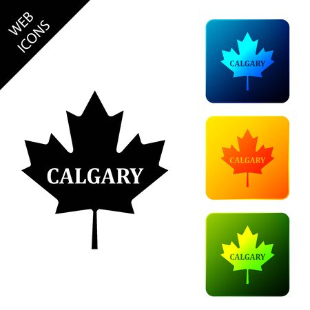 Canadian maple leaf with city name Calgary icon isolated on white background. Set icons colorful square buttons. Vector Illustration