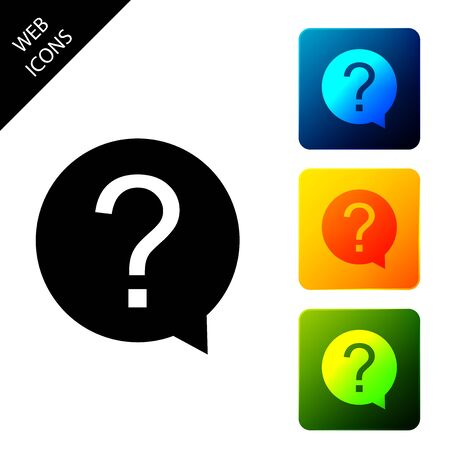 Question mark in circle icon isolated on white background. Hazard warning symbol. Help symbol. FAQ sign. Set icons colorful square buttons. Vector Illustration