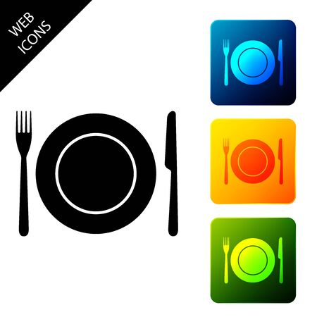Plate, fork and knife icon isolated on white background. Cutlery symbol. Restaurant sign. Set icons colorful square buttons. Vector Illustration